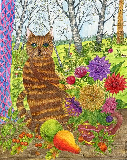 Животные ручной работы. Ярмарка Мастеров - ручная работа. Купить Кошка у окна осенью. Большая картина акварелью для интерьера. Handmade.