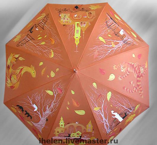 Зонты ручной работы. Ярмарка Мастеров - ручная работа. Купить Оранжевый зонт про 33 кошки. Handmade. Кошки, краски