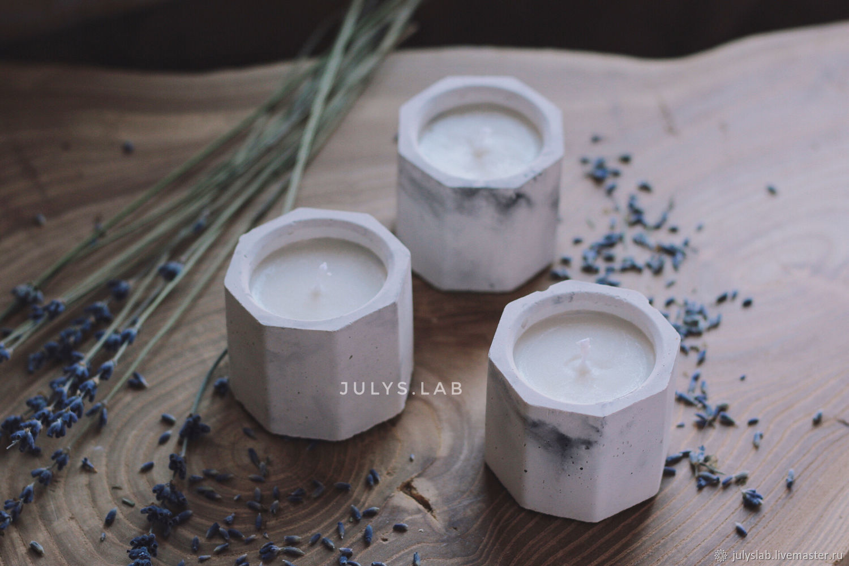 Набор из трех соевых свечей в бетоне с ароматом лаванды, Свечи, Санкт-Петербург,  Фото №1