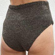 Одежда handmade. Livemaster - original item Panties 2XL - warm knitted woolen gray taupe unisex, warm underwear. Handmade.