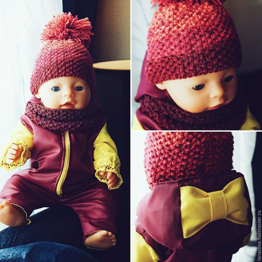 Одежда для кукол ручной работы. Ярмарка Мастеров - ручная работа. Купить Комбинезон для Baby Born. Handmade. Бордовый, одежда на заказ