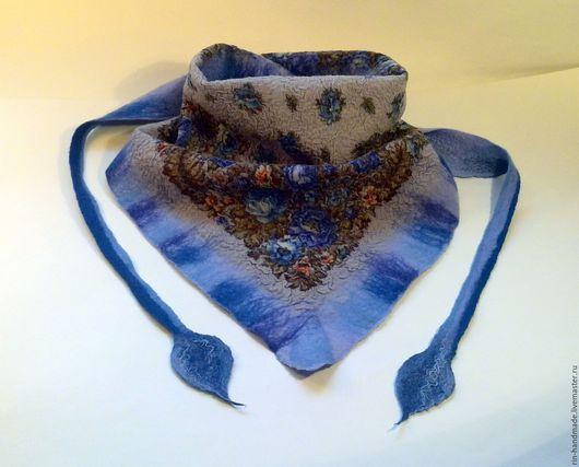 Шарфы и шарфики ручной работы. Ярмарка Мастеров - ручная работа. Купить Шарф-бактус валяный Голубая мечта. Handmade.