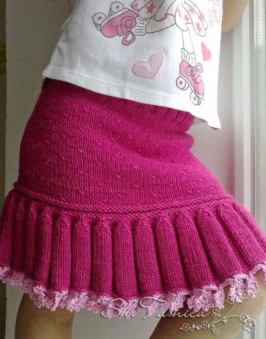 """Одежда для девочек, ручной работы. Ярмарка Мастеров - ручная работа. Купить Вязаная юбка """"Колокольчики"""". Handmade. Фуксия, юбка для девочки"""