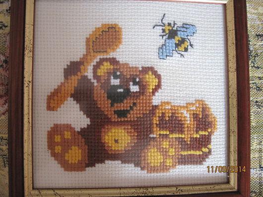 Животные ручной работы. Ярмарка Мастеров - ручная работа. Купить Мишутка с мёдом. Handmade. Комбинированный, пчела, мишутка, картинка в рамке