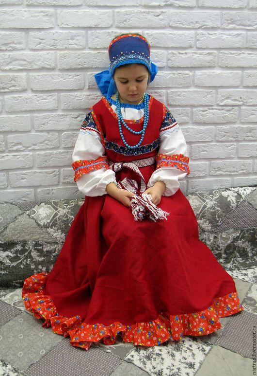 Одежда ручной работы. Ярмарка Мастеров - ручная работа. Купить Русский народный костюм для девочки. Handmade. Ярко-красный