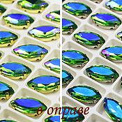 Материалы для творчества handmade. Livemaster - original item Glass rhinestone 15h7 mm Forest Green AB and gold serebryanikova. Handmade.