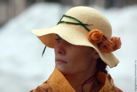 """Шляпы ручной работы. Ярмарка Мастеров - ручная работа. Купить Дамская шляпка """"Весеннее настроение"""". Handmade. Желтый, женская шляпка"""