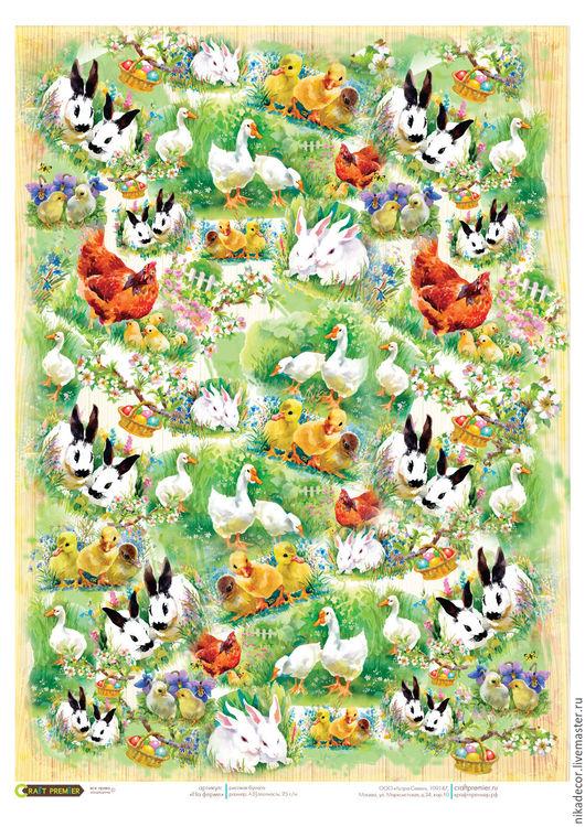 Декупаж и роспись ручной работы. Ярмарка Мастеров - ручная работа. Купить На ферме (CPD0577) - рисовая бумага, А3. Handmade.