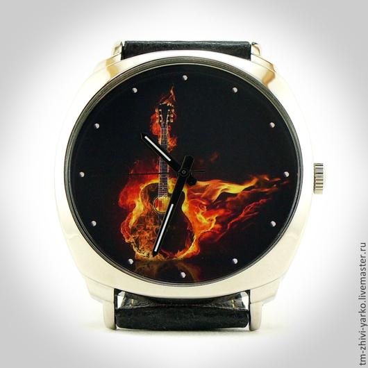 """Часы ручной работы. Ярмарка Мастеров - ручная работа. Купить Часы наручные  """"Огненная гитара"""".. Handmade. Часы, оригинальный подарок"""