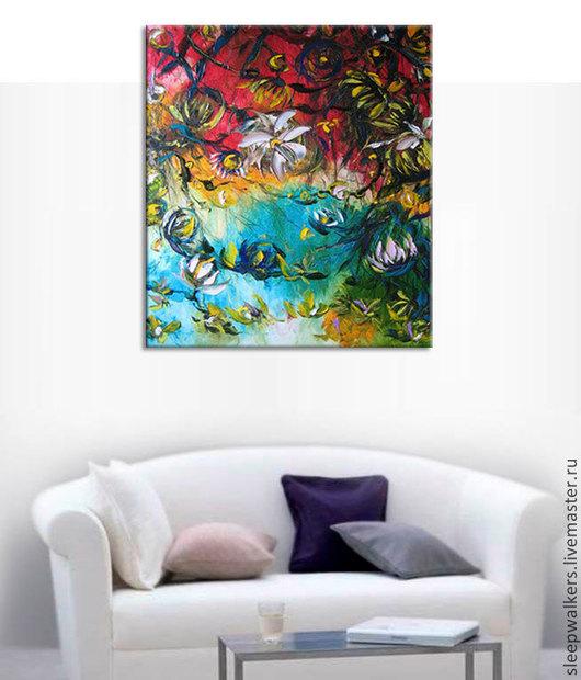 """Картины цветов ручной работы. Ярмарка Мастеров - ручная работа. Купить """"Hawaiian spring"""" 90х80 см большая картина маслом мастихином цветы. Handmade."""