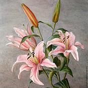 Картины и панно ручной работы. Ярмарка Мастеров - ручная работа Картина акварелью Лилия, живопись розовый серый. Handmade.
