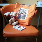 Сумки и аксессуары handmade. Livemaster - original item Orange shopper textile bag with toute applique. Handmade.