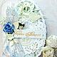 Открытки к Пасхе ручной работы. Ярмарка Мастеров - ручная работа. Купить Открытка  к пасхе Христос Воскресе!голубая. Handmade. Голубой