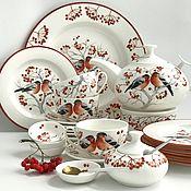 handmade. Livemaster - original item Painted porcelain Painted porcelain tea Set Snegiri. Handmade.