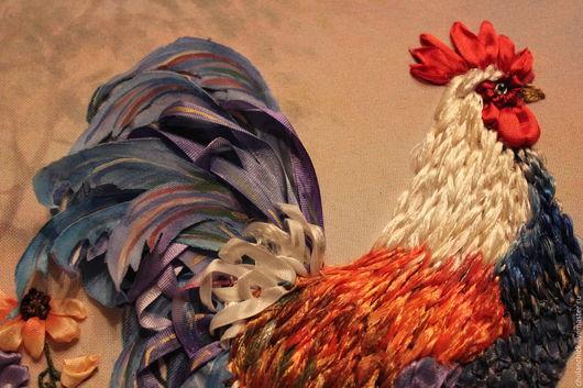 Ярмарка мастеров-ручная работа. Handmade. картины цветов ручной работы.  цветы шелковыми лентами. петух  вышитый. купить подарок. для интерьера. картина вышитая шелком