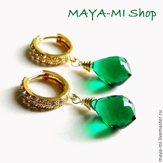 """Серьги ручной работы. Ярмарка Мастеров - ручная работа. Купить Серьги """"Emerald Drop"""". Handmade. Зеленый, серьги с подвесками"""