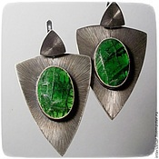 Украшения handmade. Livemaster - original item Earrings with diopside Cobra. Handmade.