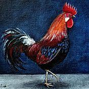 Картины и панно ручной работы. Ярмарка Мастеров - ручная работа Петух на синем фоне. Handmade.