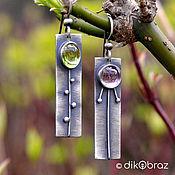 Украшения handmade. Livemaster - original item Earrings silver Motley grass, amethyst, peridot. Handmade.