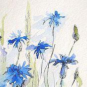 Картины и панно handmade. Livemaster - original item Watercolor Cornflowers 13 to 18 cm. Handmade.