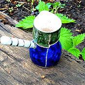 """Посуда ручной работы. Ярмарка Мастеров - ручная работа Турка для варки кофе """" Изумрудно-синяя"""". Handmade."""