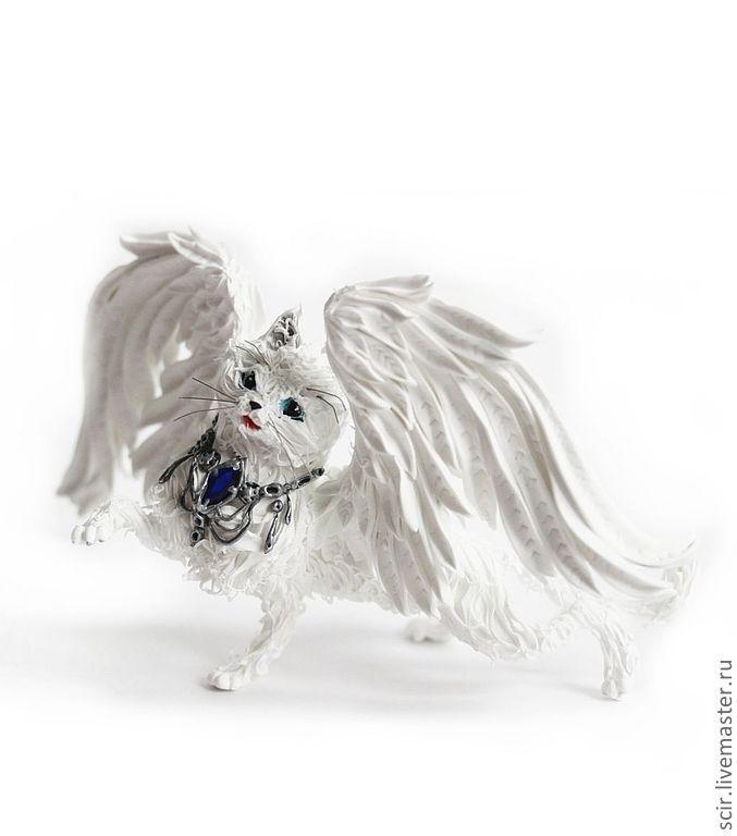 """Игрушки животные, ручной работы. Ярмарка Мастеров - ручная работа. Купить Фигурка """"Белая крылатая кошка"""" (кошка белоснежная). Handmade."""