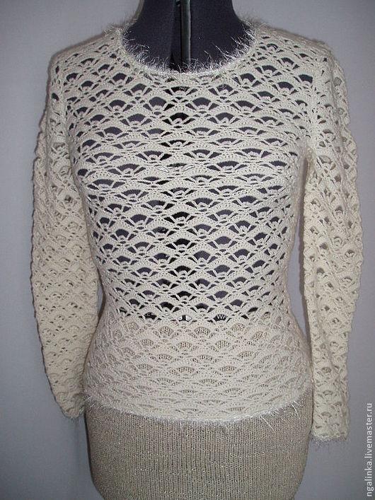 Кофты и свитера ручной работы. Ярмарка Мастеров - ручная работа. Купить блуза из шерсти Ажурная. Handmade. Белый, кофточка крючком