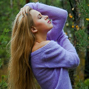 Одежда ручной работы. Ярмарка Мастеров - ручная работа Сиреневый пуловер.. Handmade.