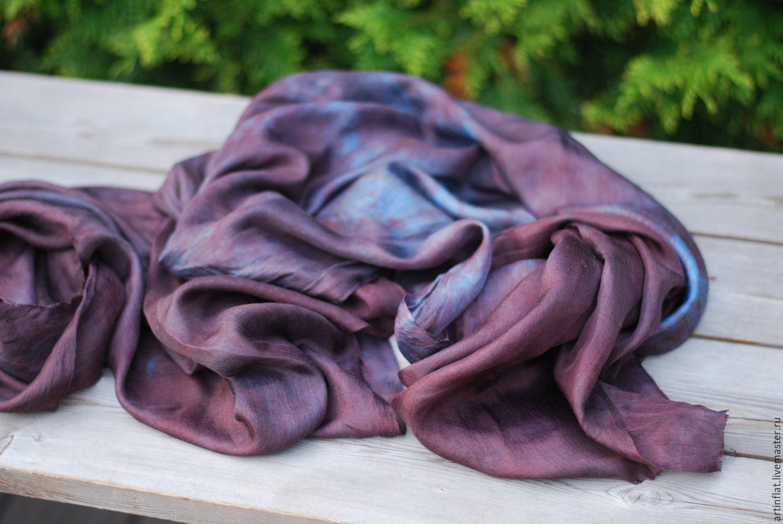 Scarf silk 'Mystic' eco Indigo madder, Scarves, Moscow,  Фото №1