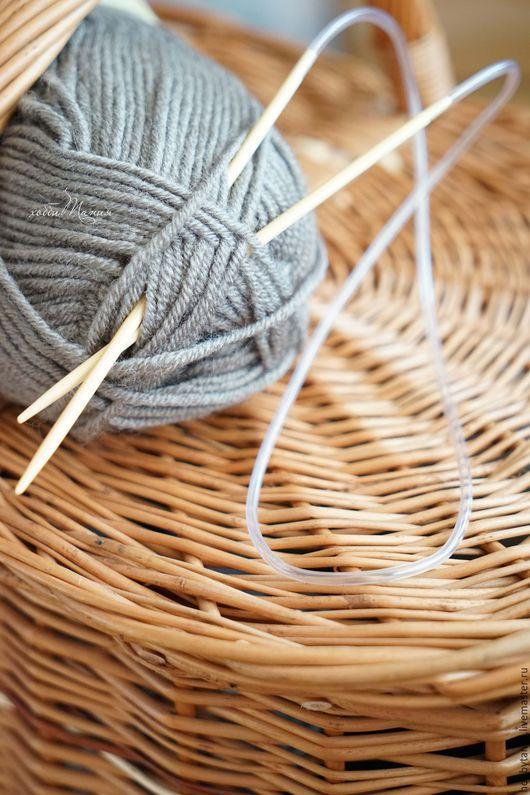 Вязание ручной работы. Ярмарка Мастеров - ручная работа. Купить Спицы круговые бамбуковые. Handmade. Бежевый, спицы для вязания