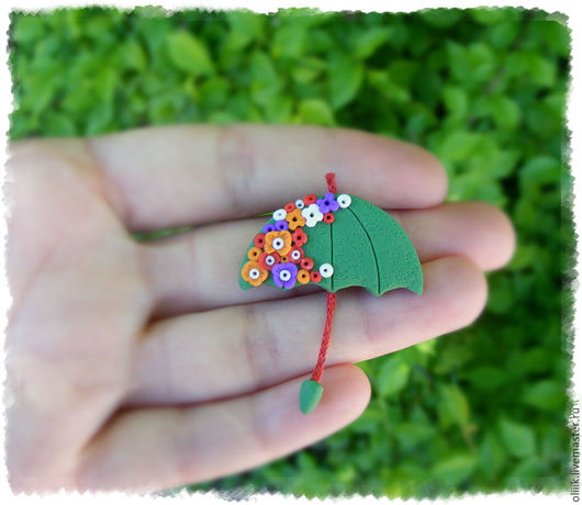 """Броши ручной работы. Ярмарка Мастеров - ручная работа. Купить Брошь """"Зонтик"""" (зеленый). Handmade. Комбинированный, зонт, детская брошь"""