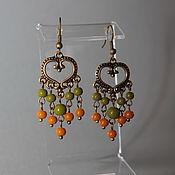handmade. Livemaster - original item Long Earrings Lesnaya Skazka in green and terracotta tones. Handmade.