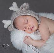 Работы для детей, ручной работы. Ярмарка Мастеров - ручная работа Шапочка для фотосессии новорожденных Олененок бежевый. Handmade.