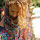 """Шарфы и шарфики ручной работы. Шарфик-сетка """"Happy mix"""". Knit Factory. Ярмарка Мастеров. Фиолетовый цвет, стильный аксессуар"""