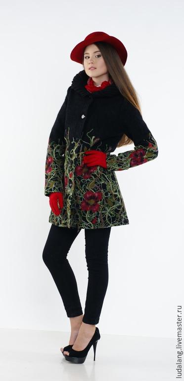 Верхняя одежда ручной работы. Ярмарка Мастеров - ручная работа. Купить Пальто с капюшоном Маки. Handmade. Болотный, валяное пальто