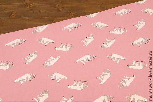 Шитье ручной работы. Ярмарка Мастеров - ручная работа. Купить Футер с начесом  Полярные медведи на розовом. Handmade. Хлопок 100%
