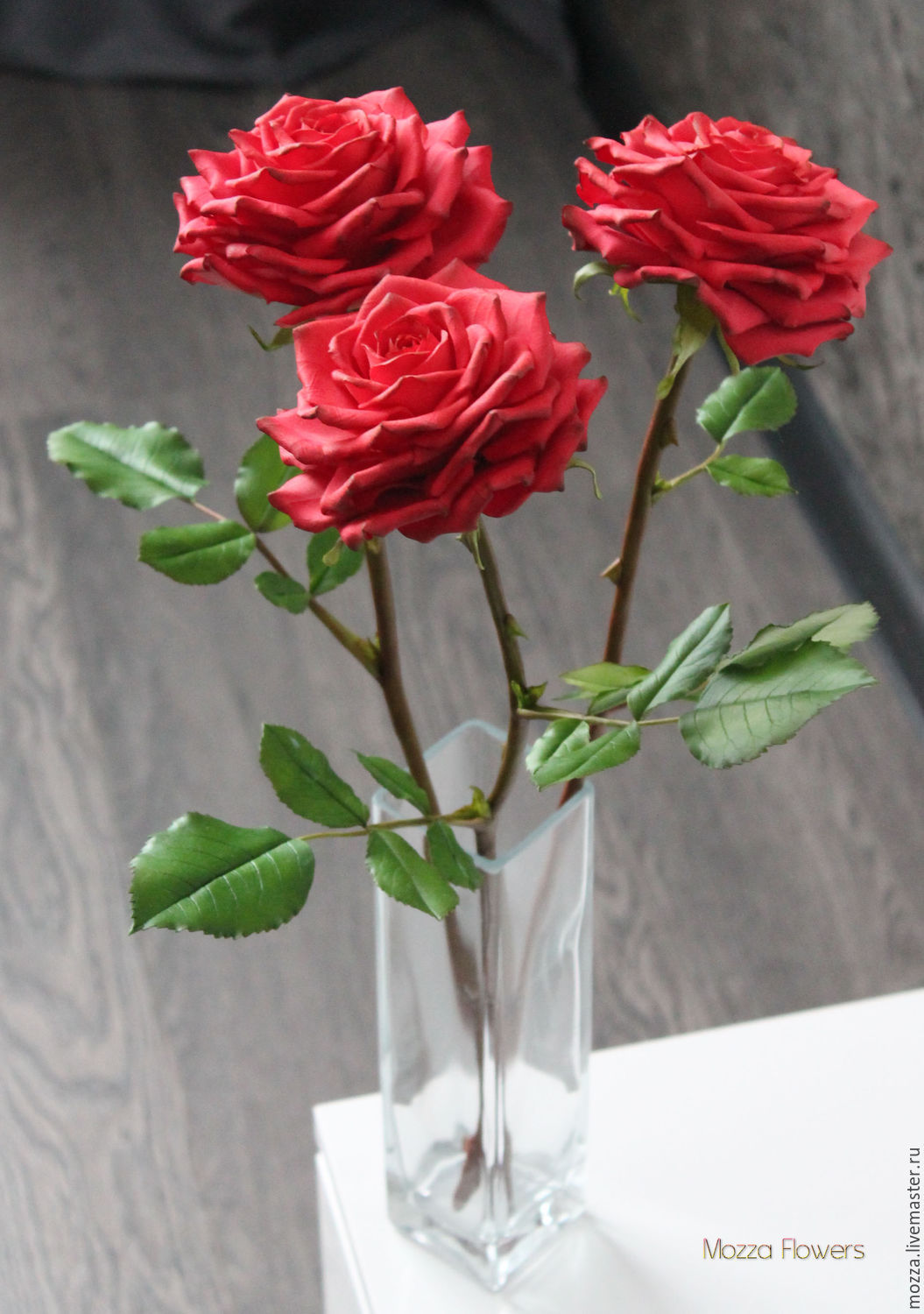 Red roses 'RED' polymer clay, Flowers, Zarechny,  Фото №1
