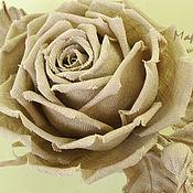 Украшения ручной работы. Ярмарка Мастеров - ручная работа Роза из натурального льна. Handmade.