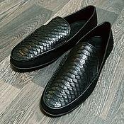 Обувь ручной работы handmade. Livemaster - original item Moccasins made of genuine Python and nubuck leather, in black!. Handmade.