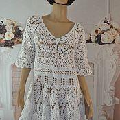 Одежда handmade. Livemaster - original item Crocheted tunic,48-52p, cotton. Handmade.