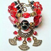 Украшения handmade. Livemaster - original item Set - bracelet and earrings crystal ethnic style Infanta.. Handmade.