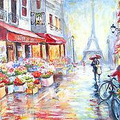 """Картины и панно ручной работы. Ярмарка Мастеров - ручная работа картина """"Вдвоем по Парижу"""". Handmade."""