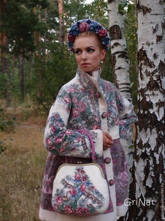 """Верхняя одежда ручной работы. Ярмарка Мастеров - ручная работа. Купить Валяное пальто """"Аленушка"""". Handmade. Цветочный, пальто из шерсти"""