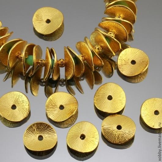 Бусины металлические Чипсы с покрытием под золото для сборки украшений