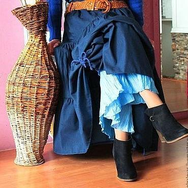 Одежда ручной работы. Ярмарка Мастеров - ручная работа Юбка бохо  длинная Осень джинс. Handmade.