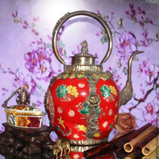 Винтажная посуда. Ярмарка Мастеров - ручная работа. Купить Винтажный коллекционный китайский чайник 2. Handmade. Ярко-красный, китай