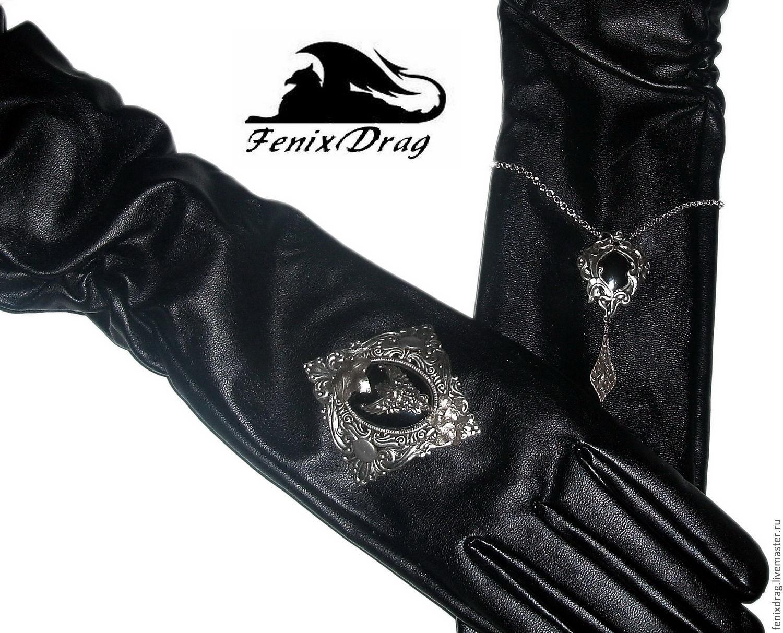 Vintage mens leather gloves -  Long Black Leather Gloves Alissandra Gothic Vintage