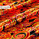 ' Khokhloma Feather of the Firebird ' Atlas. Fabric. SLAVYANKA. Online shopping on My Livemaster.  Фото №2
