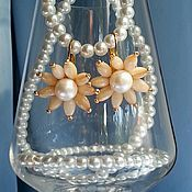 Украшения handmade. Livemaster - original item Lily earrings pearl, mother of pearl, gold plated. Handmade.