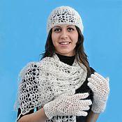 Аксессуары ручной работы. Ярмарка Мастеров - ручная работа 79-комплект аксессуаров вязаный ,  шарф, шапочка, перчатки. Handmade.